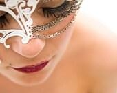 Unique White Phantom Metal Filigree Laser Cut Masquerade Mask w/ Chains