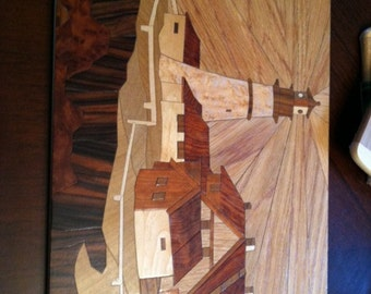 Lighthouse Marquetry Wood Art