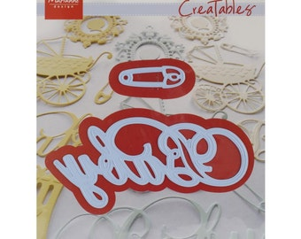 "Marianne Designs Creatables Die ~ Baby Text & Safety Pin, 4""X2"" and 1.5""X.5"" LR0217 ~"