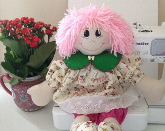 Pink handmade rag doll personalised embroidered message available