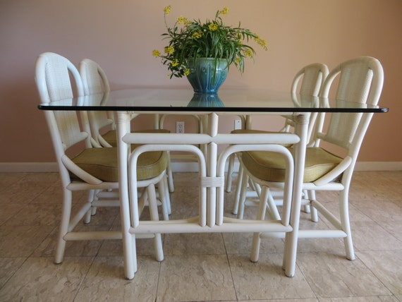 Beach Style Dining Sets: Vintage Mid Century Palm Beach Style Rattan Bamboo White