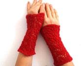 Red Fingerless Gloves, Gauzy Lace Mittens, Handwarmers, Knit Wool - JoannasKnitCorner