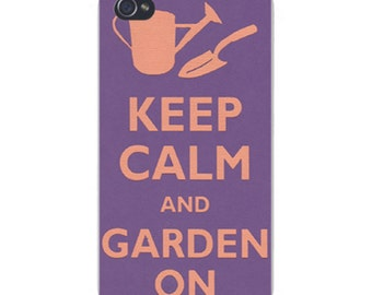 Apple iPhone Custom Case White Plastic Snap on - Keep Calm and Garden On Watering Can & Shovel 0061