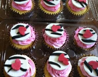 Edible Zebra Cupcake Toppers