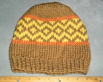Brown, Orange, and Yellow, Fair Isle Hat