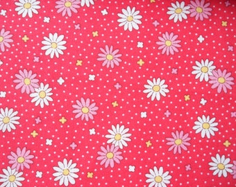 "Fat Quarter of Lecien Retro 30's Child Smile Red Daisy Fabric. Approx. 18"" x 22"" Made in Japan"