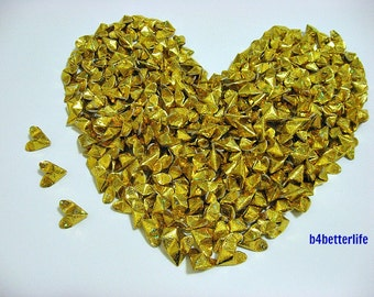 300pcs Gold Color Medium Size 3D Origami Hearts 'LOVE'. (Metallic Foil Paper Series).