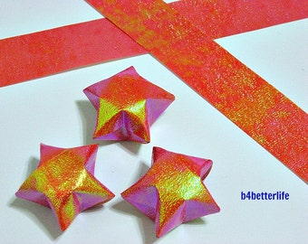 50 Strips of Dark Orange Color DIY Origami Paper Folding Kit For The Large Lucky Stars. 70cm x 2.5cm. (TX paper series). #SPK-118.