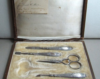 End 19 th century Silver set manucure