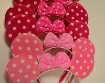 Pink Minnie Mouse Ears - Ears with Polka Dot Bow; Pink, Hot Pink, Black polka dot Minnie Ears