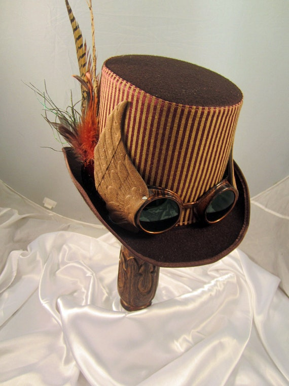 Items similar to Steampunk Hat- Men's Brown Topper with ...