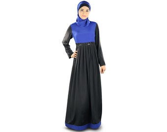 MyBatua Elegant All Occasion  Wear Abaya   AY-326   Black and Royal Blue Color   Muslim Dress   Islamic Clothing   Poly Crepe Fabric