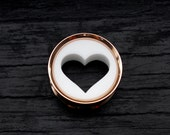 White Heart Rose Gold Plug 3D Printed Tunnel Mothers Day