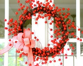 Beautiful  Valentine's Wreath, Spring Wreath, Holiday Wreath, Red Wreath, Gingham Wreath - SomethingWhimdesigns