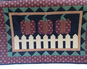Pumpkins on a Fence Wallhanging