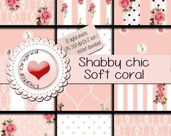 Digital paper - Shabby chic Light coral -12 sheets - 300 ppi - instant download.
