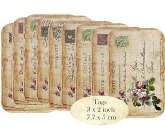 Vintage Postcards Instant Download digital collage sheet T145 digital Tags carte postale postcard