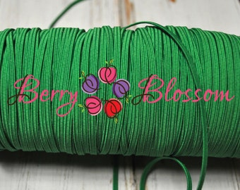 """Green skinny elastic 1 or 5 yards - 1/8"""" inch - elastic by the yard - Thick Sknny 1/8"""" - JT #13"""