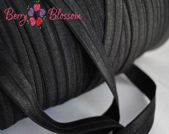 Black stretch elastic 1 or 5 yard 5/8 inch - shiny elastic by the yard - FOE elastics - fold over elastic - solid color