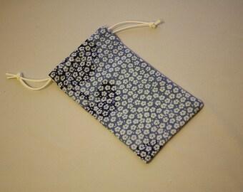 Japanese Flower Print Blue Pouch