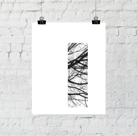 Letter I Wall Decor, Scandinavian Art, Monogram, Black and White Prints, Minimalist, Tree Branch Art, Instant Download-Adoption Fundraiser