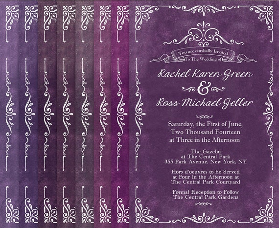 Purple Rustic Wedding Invitations: Purple Wedding Invitations For Rustic Weddings / Plum Violet