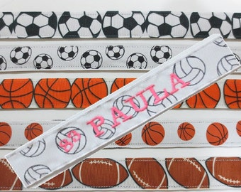 No slip Headbands - Various Sports Prints 7/8 inch with embroidery