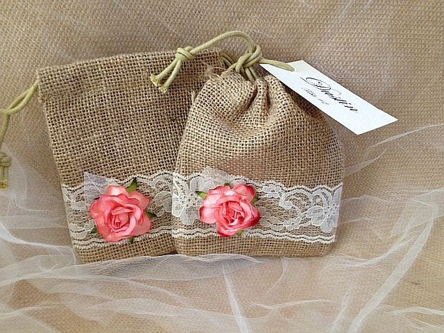 Wedding Favor Bags Coral : Rustic Burlap and Lace Party Favor Bags Coral Rose Wedding