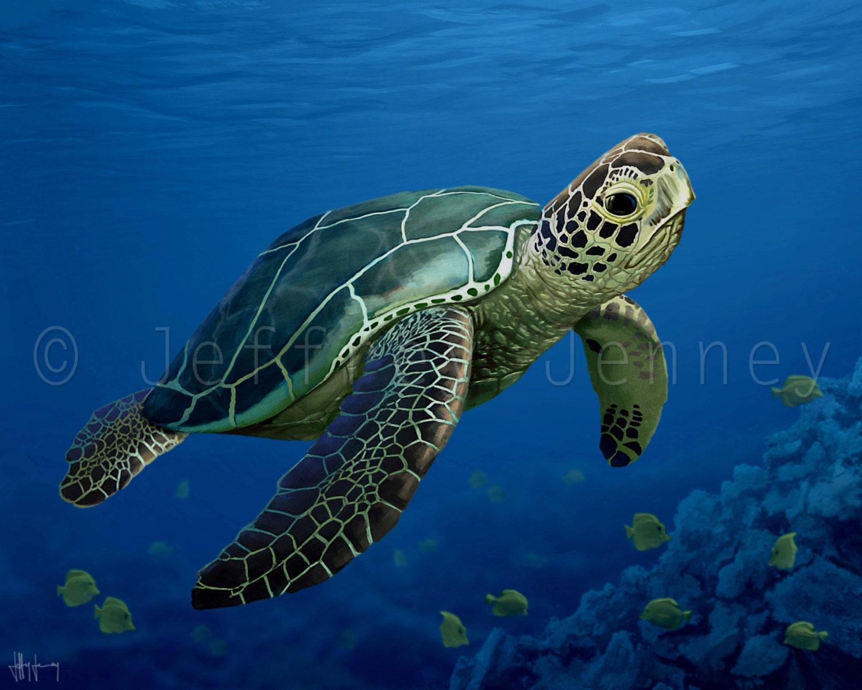 Sea Turtle Print Fine Art Print From An Original Painting
