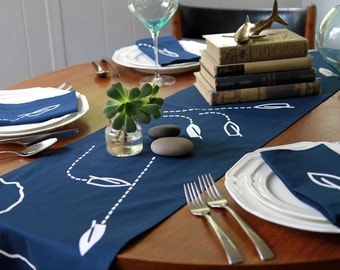 Navy and White Race Day Nautical Table Runner