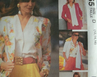 Misses Cardigan and Blouse Size 12-14-16 McCalls Sew News Pattern 5855 - The Fashion Collection Rated EASY  UNCUT Pattern 1992