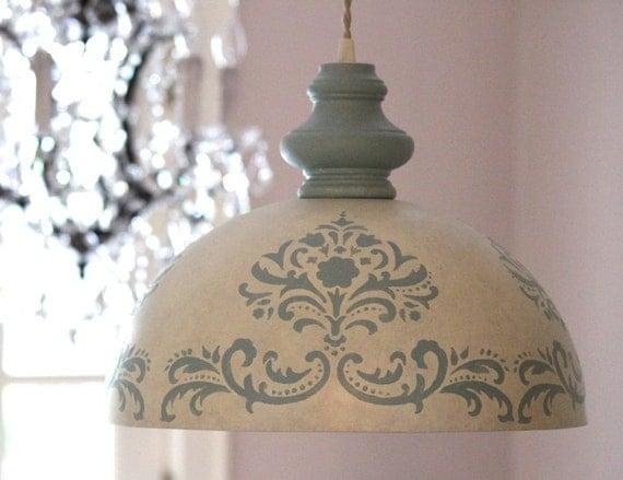 large modern shabby chic dome hanging pendant light fixture ivory blue. Black Bedroom Furniture Sets. Home Design Ideas