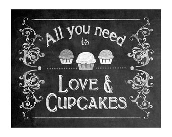 Instant Download Wedding-All You Need is Love and Cupcakes- Sign - DIY - Victoria Collection