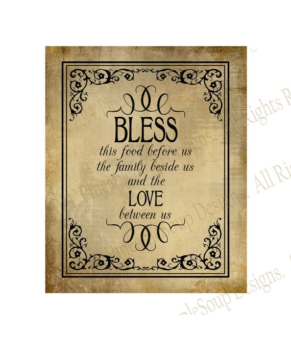 Bless The Food Before Us Blessing Wedding Sign Instant