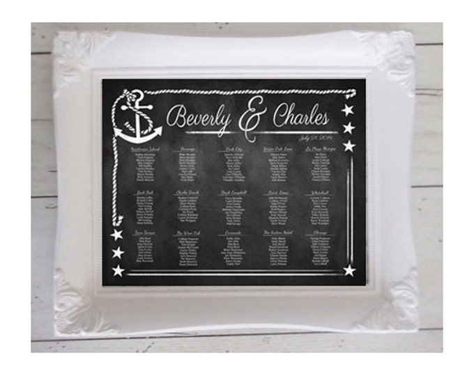 Chalkboard Style Wedding Seating Chart - Nautical Collection - Downloadable and PRINTABLE file - Custom