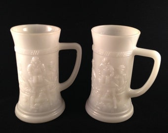 Vintage Milk Glass Tavern Mugs Steins