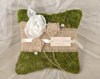 Moss Rustic Wedding Pillow, Burlap  Ring Bearer Pillow , Burlap Ring Pillow ,Moss Ring  Pillow, shabby chic Ring berarer
