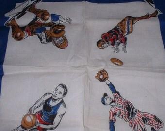 ON SALE *******Vintage Early 1950's Sports  Handkerchief - Sale****Sale****Sale****