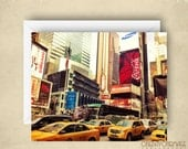 Taxis on the Square - NYC - Times Square - 4x5.5 Eco Friendly Postcards or Folded Greeting Card - Fine Art Photography - Set of 4