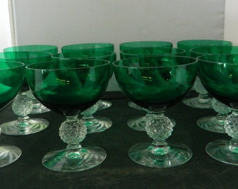 Set of 12 Vintage Cut Glass Green Sherbert/ Dessert Glasses With Clear Stem