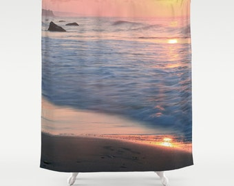 Beach Shower Curtain, Ocean Decor, Beach House Decor, Pink Shower Curtain, Cottage Decor, Girls Bathroom Decor, Pastel, Surf, Gifts for Her