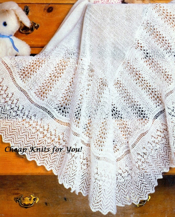 Christening Shawl Knitting Pattern Free : Baby Christening Shawl Shawl Blanket 48x48 inches in