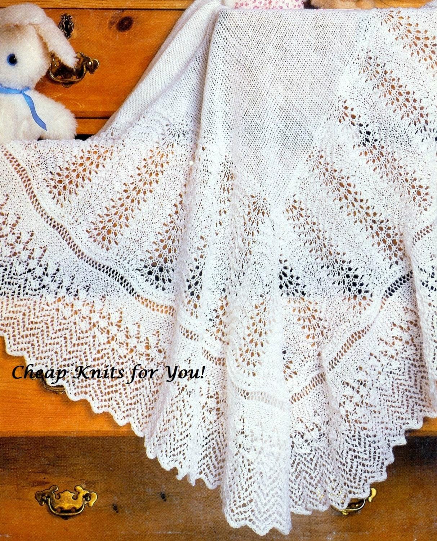Christening Blanket Knitting Pattern : Baby Christening Shawl Shawl Blanket 48x48 inches in