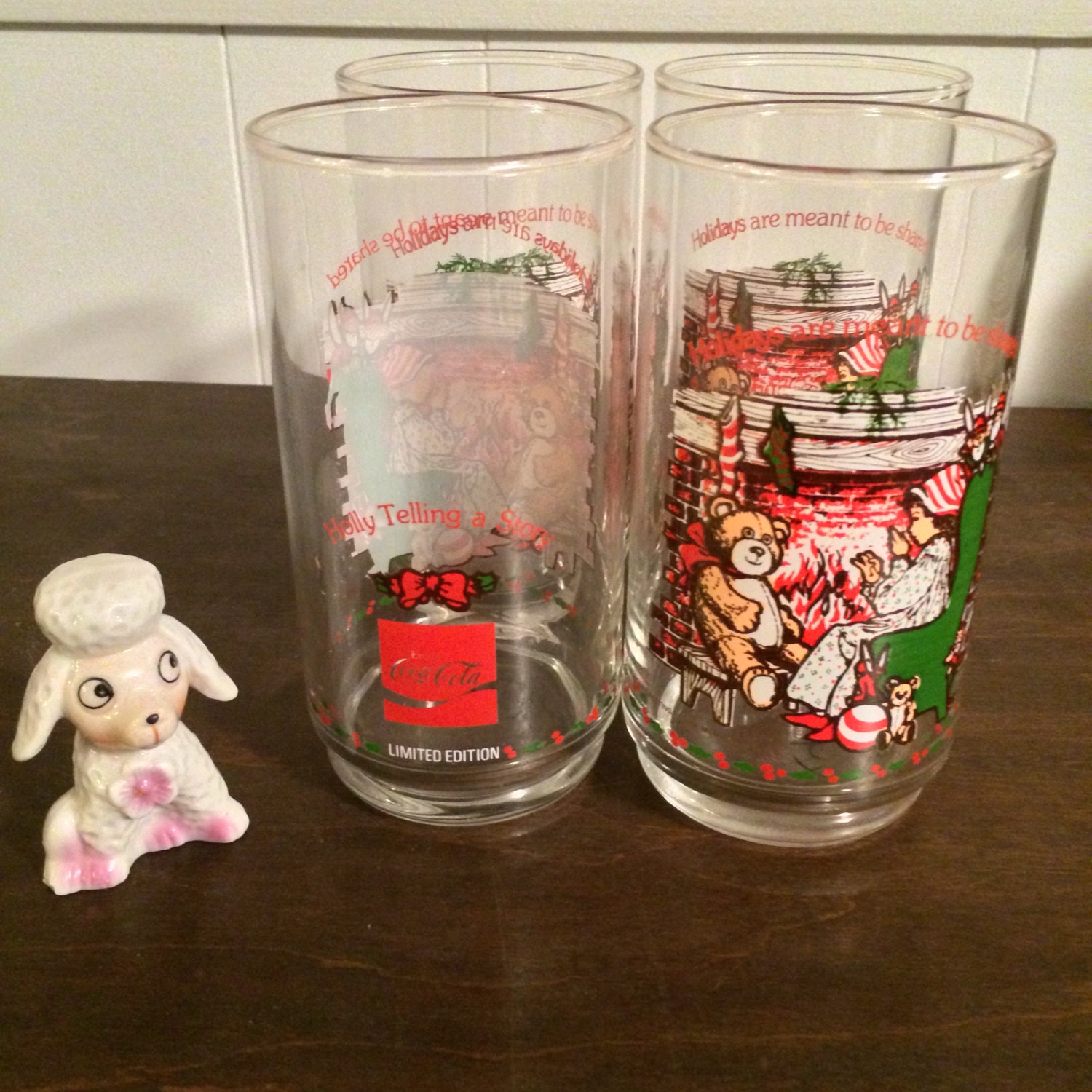 Holly Hobbie Coca Cola Christmas Glasses By Toughtownlovelies