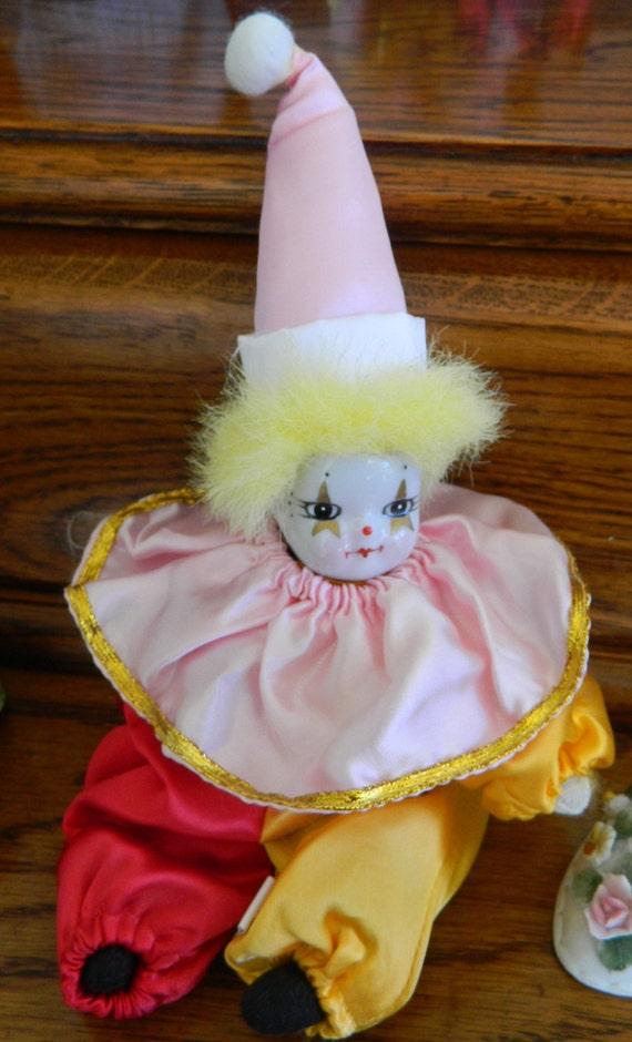 Beautiful Porcelain Head Clown Doll