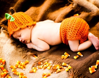 Crochet Pumpkin Hat and Diaper Cover Set Baby Crochet Pumpkin Hat Fall Baby Crochet Hat baby pumpkin halloweem hat