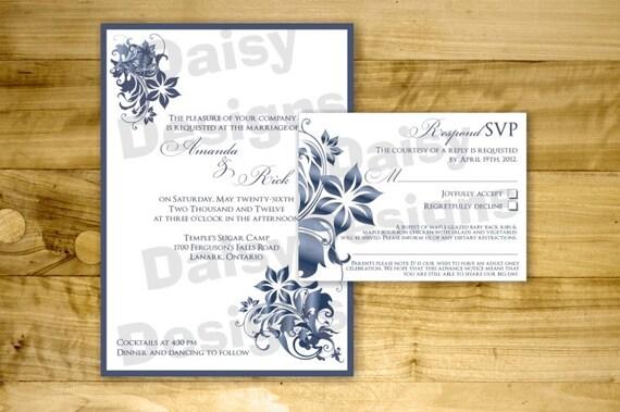 DIY Burning Sapphire Wedding Invitation Templates