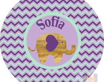 Personalized baby purple & mint green mod elephant dinner plate.  A FUN and UNIQUE gift idea! Kids love eating on personalized plates!