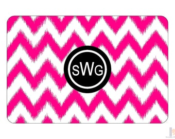 Monogram pink & black chevron ikat serving tray. A unique and stylish hostess or birthday gift! Custom colors! Entertain with style!