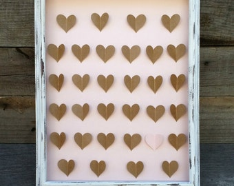 Rustic Wedding Guest Book Alternative, 3D Paper Heart Guest Book, Personalized Guest Book, Bridal Shower Gift, Anniversary Gift